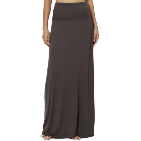 TheMogan Women's S~3X Casual Draped Jersey Foldable Waist Relaxed Long Maxi - Long Burlesque Skirts
