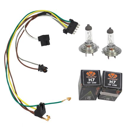 CF Advance For 02-05 Mercedes-Benz C230 C320 Left or Right Headlight Wiring Harness and H7 55W Headlight Bulb 2002 2003 2004 (H7 Headlight Wire Harness)