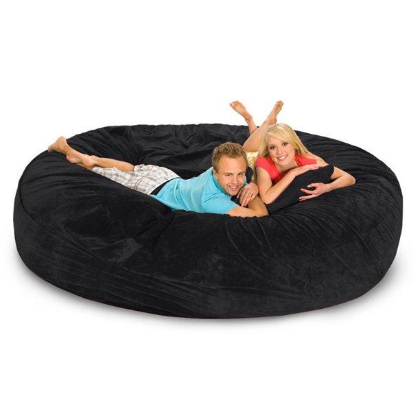 8 Ft Microsuede Foam Bean Bag Sofa