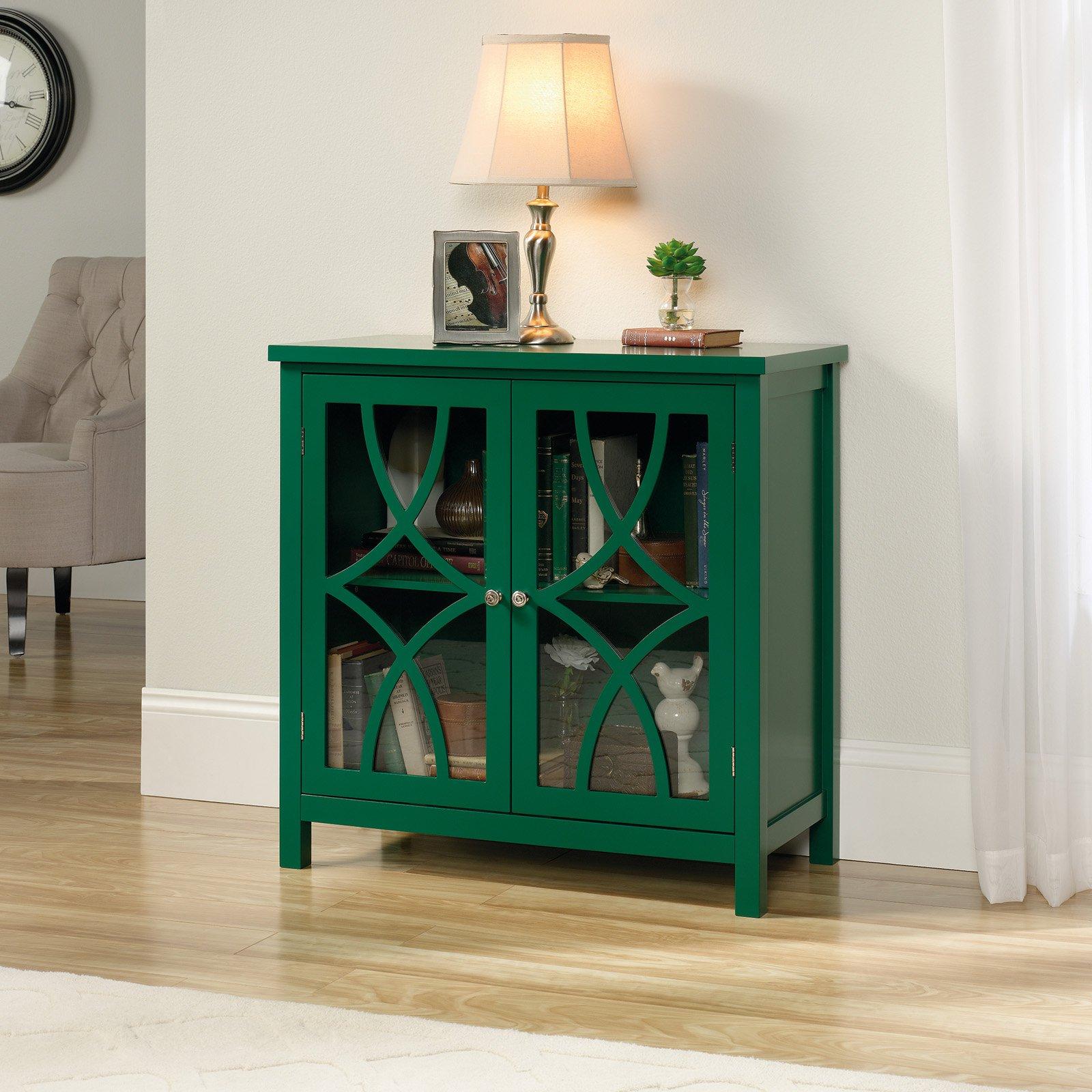Sauder Palladia Accent Storage Cabinet, Emerald Green Finish