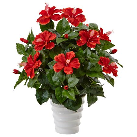 bay isle home artificial hibiscus flowering plant in planter. Black Bedroom Furniture Sets. Home Design Ideas