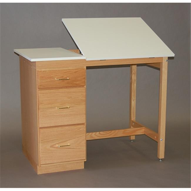 SMI M3446-37PDS Medium Oak Finish Split Top Pedestal Desk, 34 X 46 in.