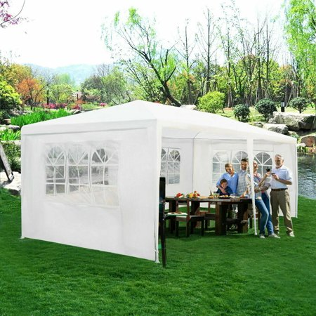 Gymax Outdoor 10'x20' Canopy Tent Heavy Duty Wedding Party Tent W/4 Sidewalls & Window