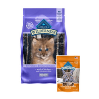 BOGO! Blue Buffalo Wilderness High Protein Grain Free, Natural Kitten Dry Cat Food, Chicken, 4-lb (get a free treat!)