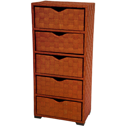 Natural Fiber Chest of Drawers, 5 Drawer