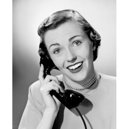 Portrait of mid adult woman talking on phone Poster Print - Cheap Adult Phone