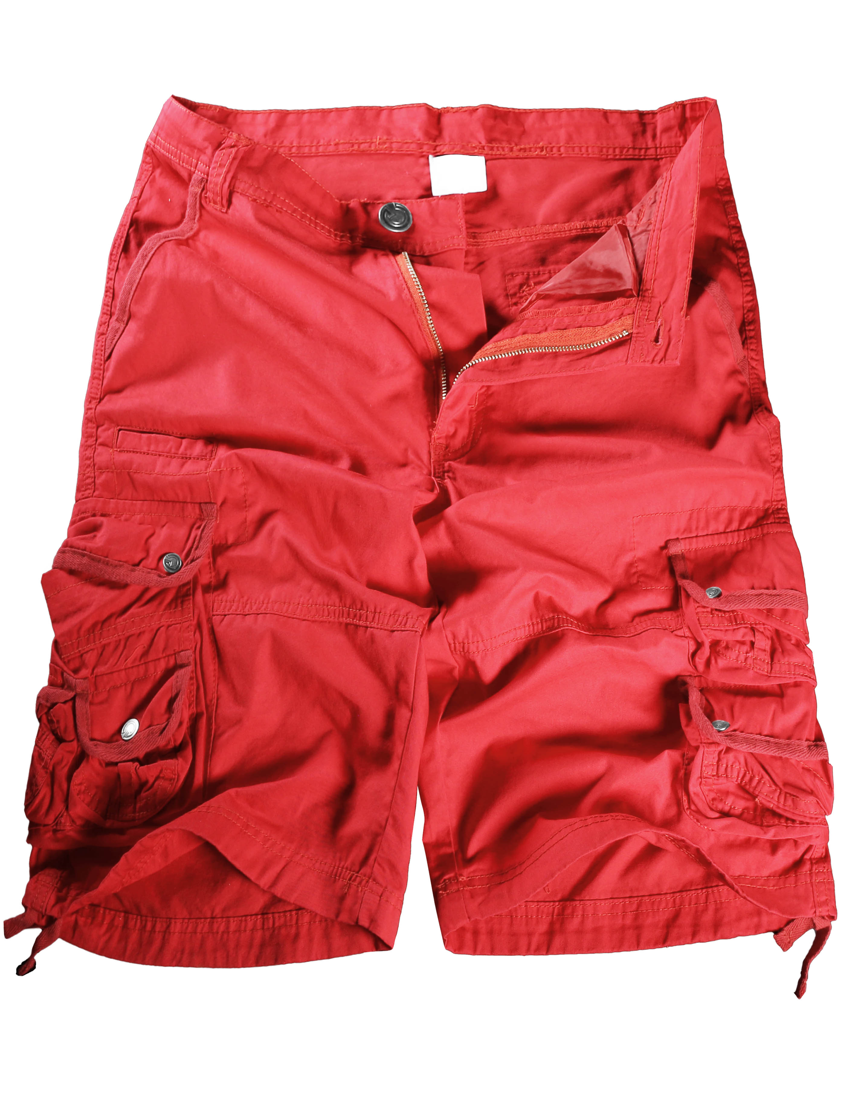 Mens Premium Cargo Shorts Twill Cotton Pants Multi Pocket Work Outdoor Utility