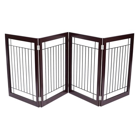 Internet's Best Traditional Wire Dog Gate | 4 Panel | 30 Inch Tall Pet Puppy Safety Fence | Fully Assembled | Durable MDF | Stairs Folding Z Shape Indoor Doorway Hall Free Standing |