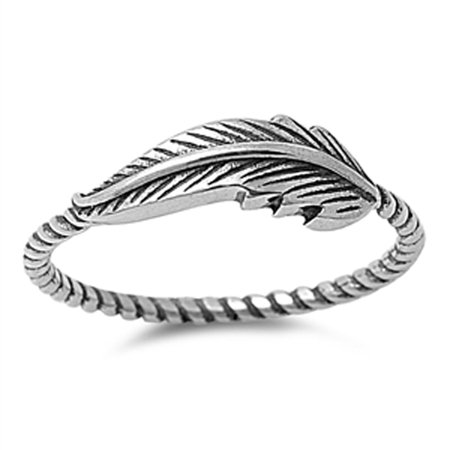 Leaf Ring (Women's Leaf Fashion Ring ( Sizes 4 5 6 7 8 9 10 11 12 13 ) New .925 Sterling Silver Bali Rope Band Rings by Sac Silver (Size 10) )