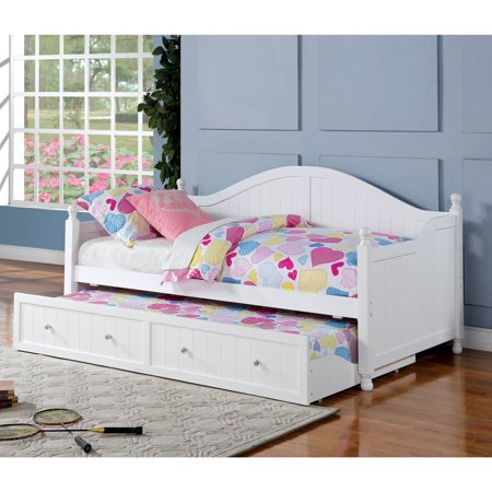 Coaster Curved Back Daybed with Trundle in White Finish (Box 1 of 3)