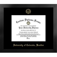 University of Colorado, Boulder 10w x 8h Nova Black Single Mat Gold Embossed Diploma Frame with Bonus Campus Images Lithograph (value savings at $59)