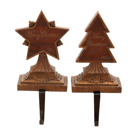 woodland imports 2 piece 39 merry christmas 39 stocking holder. Black Bedroom Furniture Sets. Home Design Ideas
