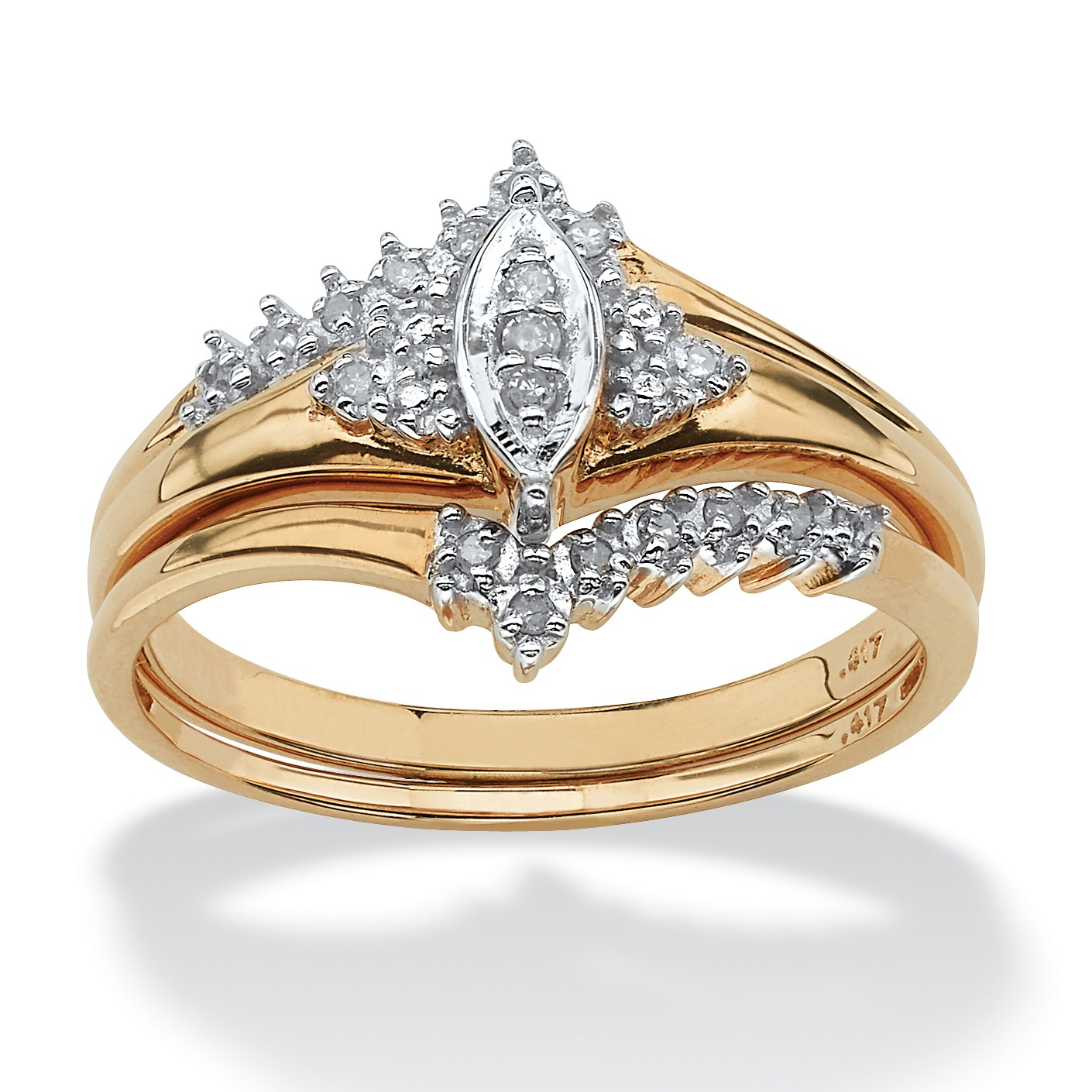 1/10 TCW Round Diamond 10k Yellow Gold Bridal Engagement Wedding Marquise-Shaped Ring Set