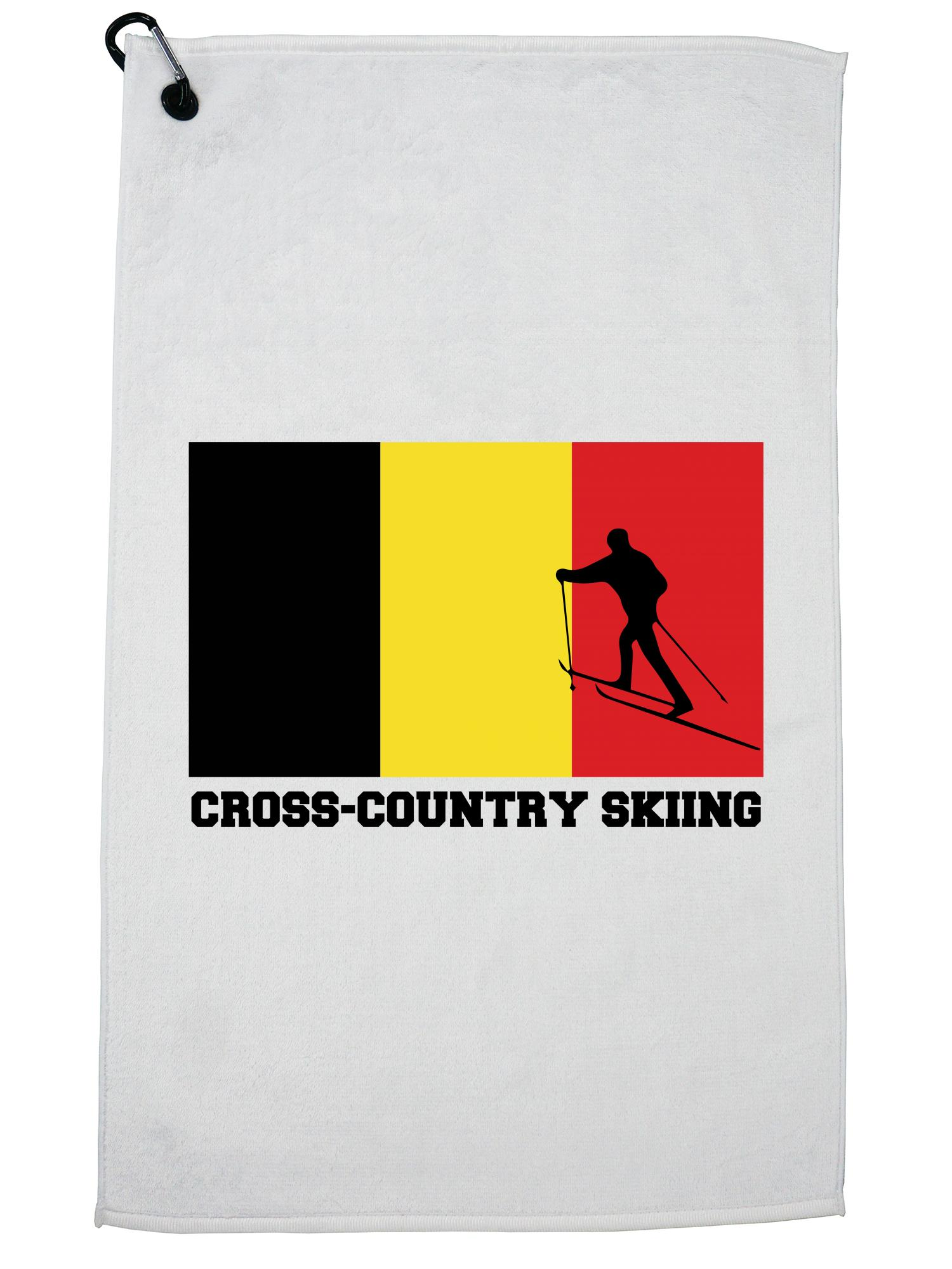 Belgium Olympic Cross-Country Skiing Flag Silhouette Golf Towel with Carabiner Clip by Hollywood Thread