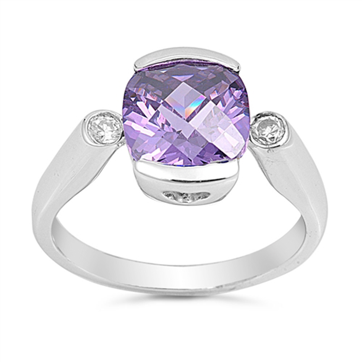Sterling Silver Stunning Women's Flawless Simulated Amethyst Cubic Zirconia Heart Cutout Ring (Sizes 5-9) (Ring Size 5)