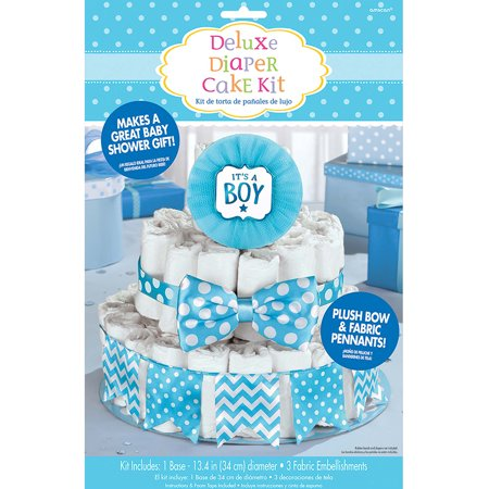 It's a Boy Blue Baby Shower Diaper Cake Decorating - Gender Reveal Diaper Cake