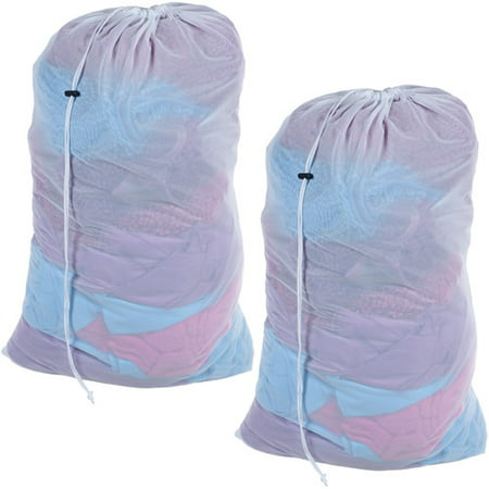 Mesh Laundry Bags  Set Of 2  Heavy Duty Mesh Drawstring Breathable Laundry Bag For College Dorms And Apartments  By Everyday Home