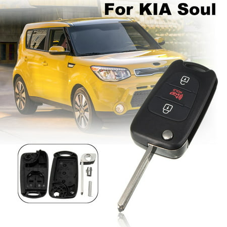 MATCC New 3Buttons Remote Case Cover Key Flip Entry Keyless Folding Fob Case Shell w/ Uncut Blank Blade For KIA Soul 2010-2013