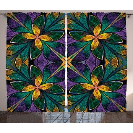 Fractal Curtains 2 Panels Set Antique Ornate Symmetric Stained Gl Window Style Embellished Fl Pattern