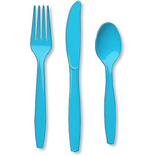 Creative Expressions 24-Pack Heavy-Duty Cutlery Assortment, Pastel Blue