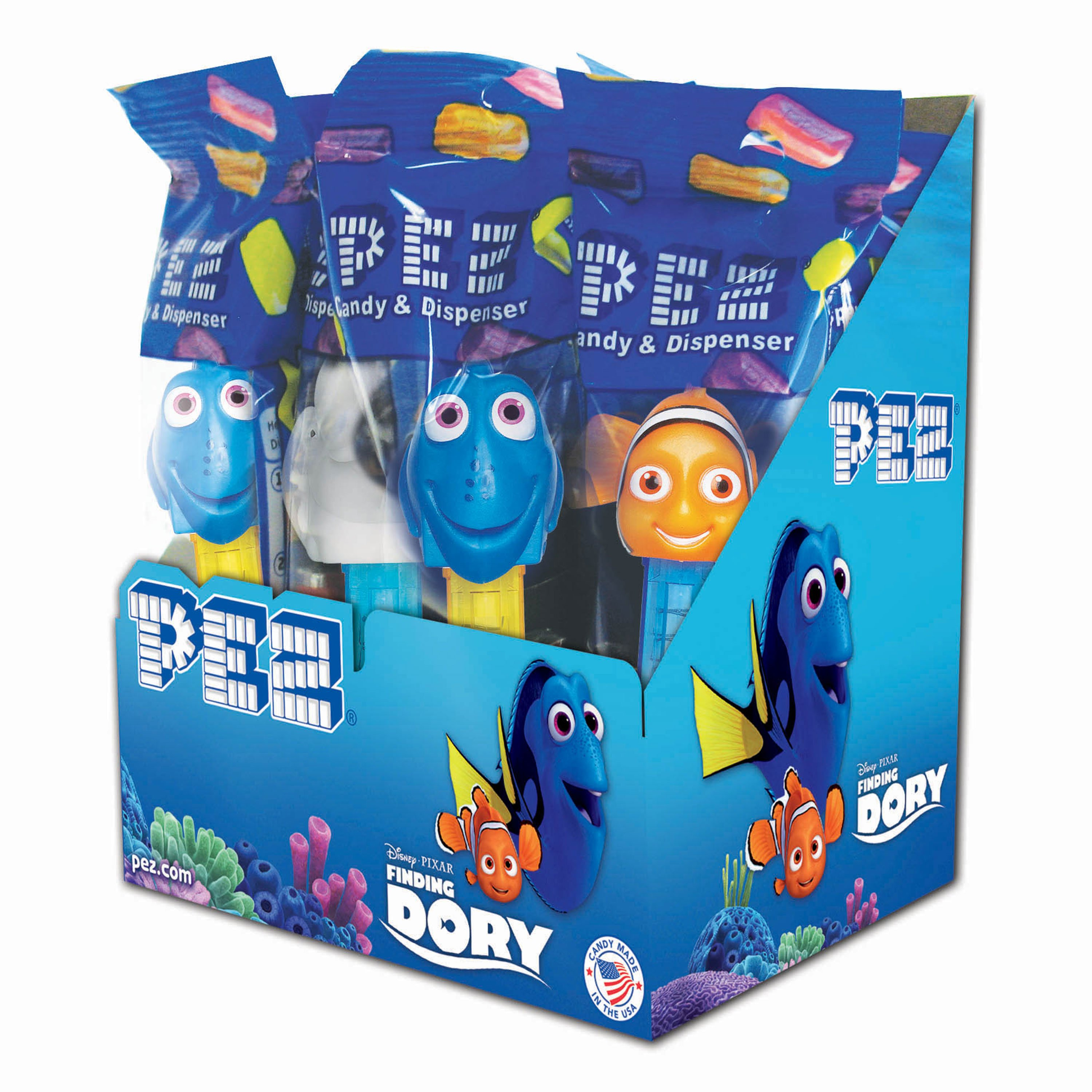 PEZ Candy Finding Dory Assortment, candy dispenser plus 2 rolls of assorted fruit candy, box of 12