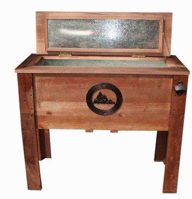 45 Quart Wooden Outdoor Rustic Mountain Deck Patio Cooler