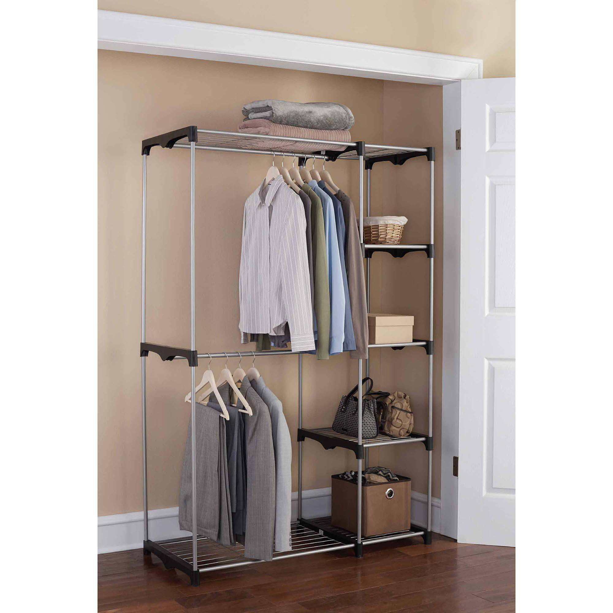 Mainstays Wire Shelf Closet Organizer Black Silver