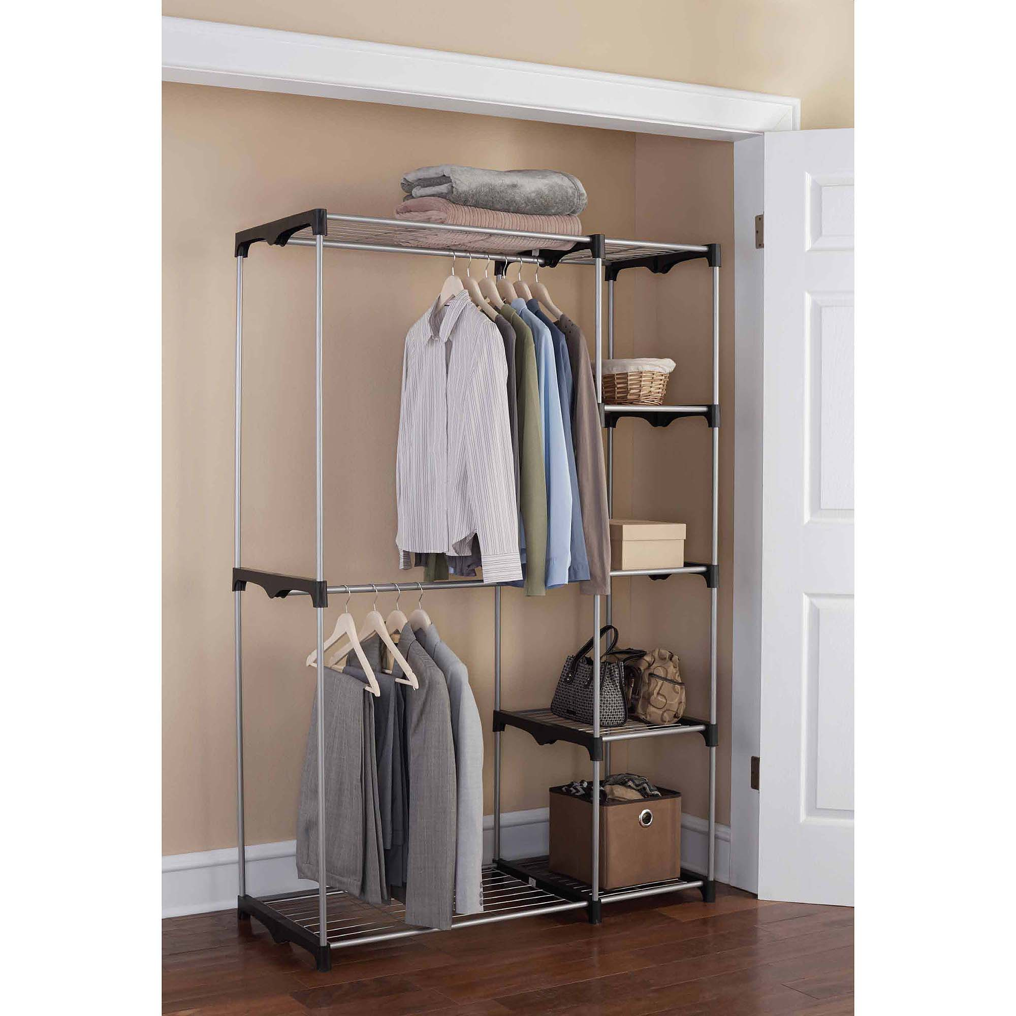 Mainstays Wire Shelf Closet Organizer, Black/Silver