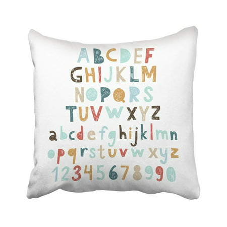 WOPOP Colorful Kid Hand Drawn Doodle Abc Cut Out Child Alphabet Cute Letter Character Script Pillowcase Throw Pillow Cover 18x18 inches Alphabet Letter Cut Outs