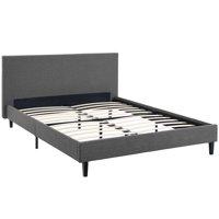Modern Contemporary Urban Design Bedroom Queen Size Platform Bed Frame, Grey Gray, Fabric Wood