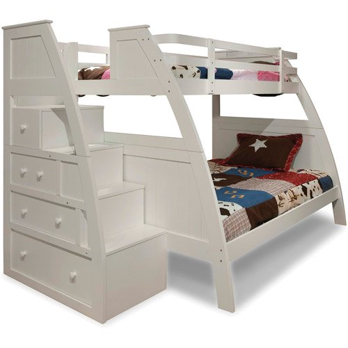 Canwood Overland Twin Over Full Bunk Bed With Built In Stair Drawers White