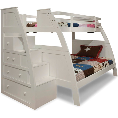 Canwood Overland Twin Over Full Bunk Bed With Built In Stair Drawers, White