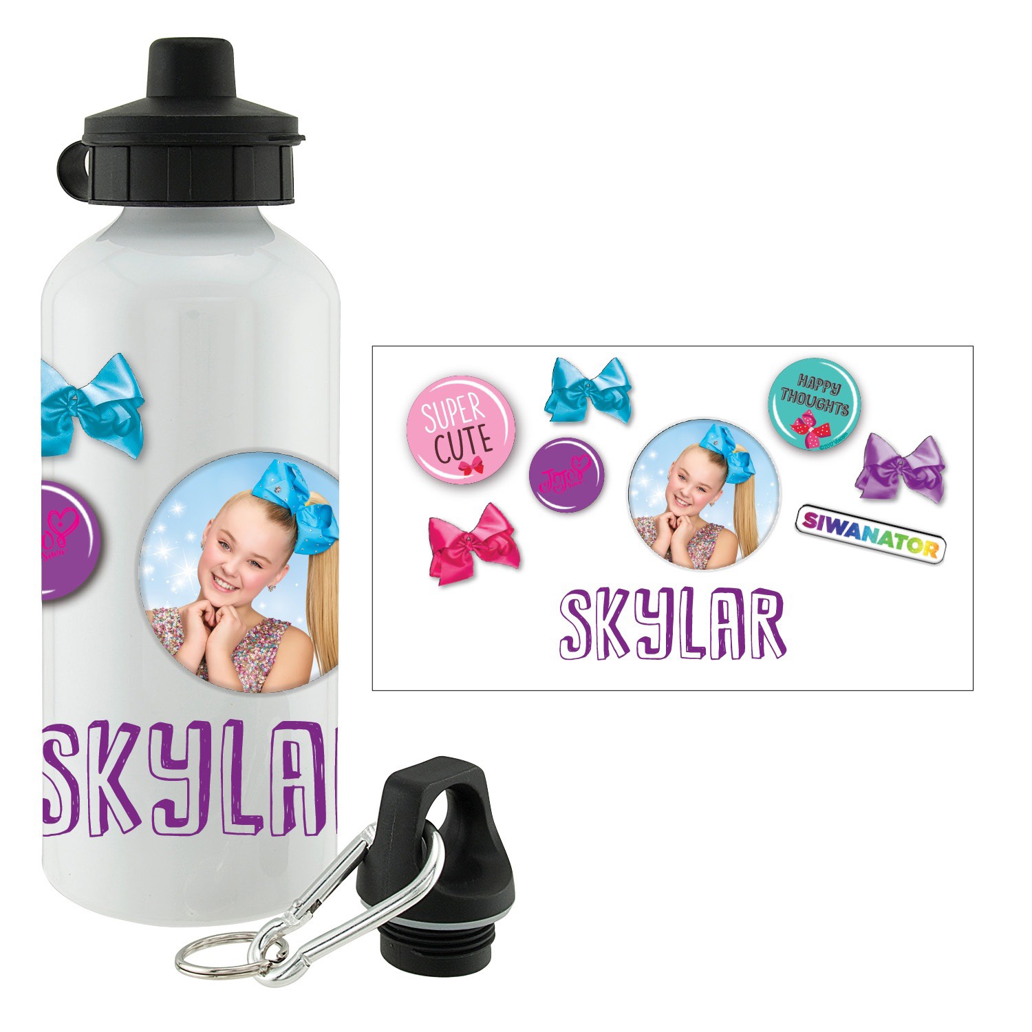 Personalized Water Bottle - JoJo Siwa Buttons