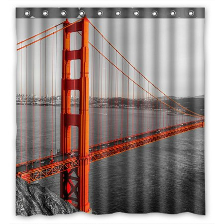 - PHFZK Cityscape Shower Curtain, Golden Gate, San Francisco, California, USA Polyester Fabric Bathroom Shower Curtain 66x72 inches