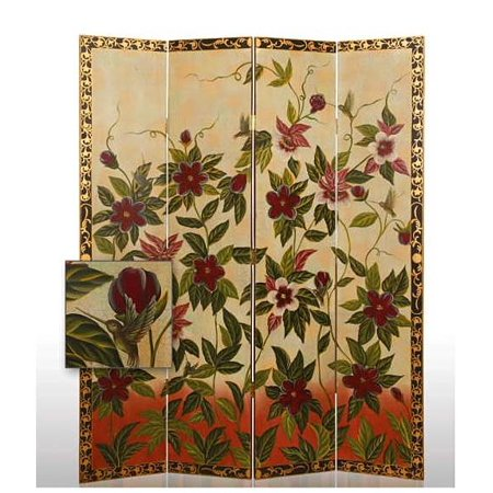 Sweet Nectar Floral 4 Panel Floor Screen