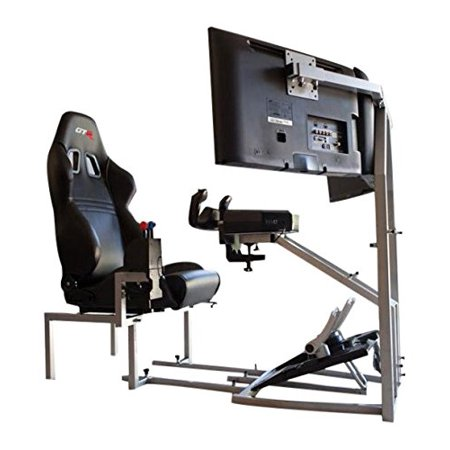 GTR Flight Simulator Seat - CRJ Model with Adjustable Leatherette Seat, Flight Simulation Cockpit with Dual Control Mount and Triple or Single Monitor Stand (Trifle Stand)