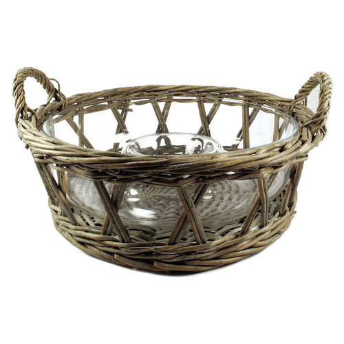 Blossom Bucket Wicker Basket with Chip And Dip Glass Bowl