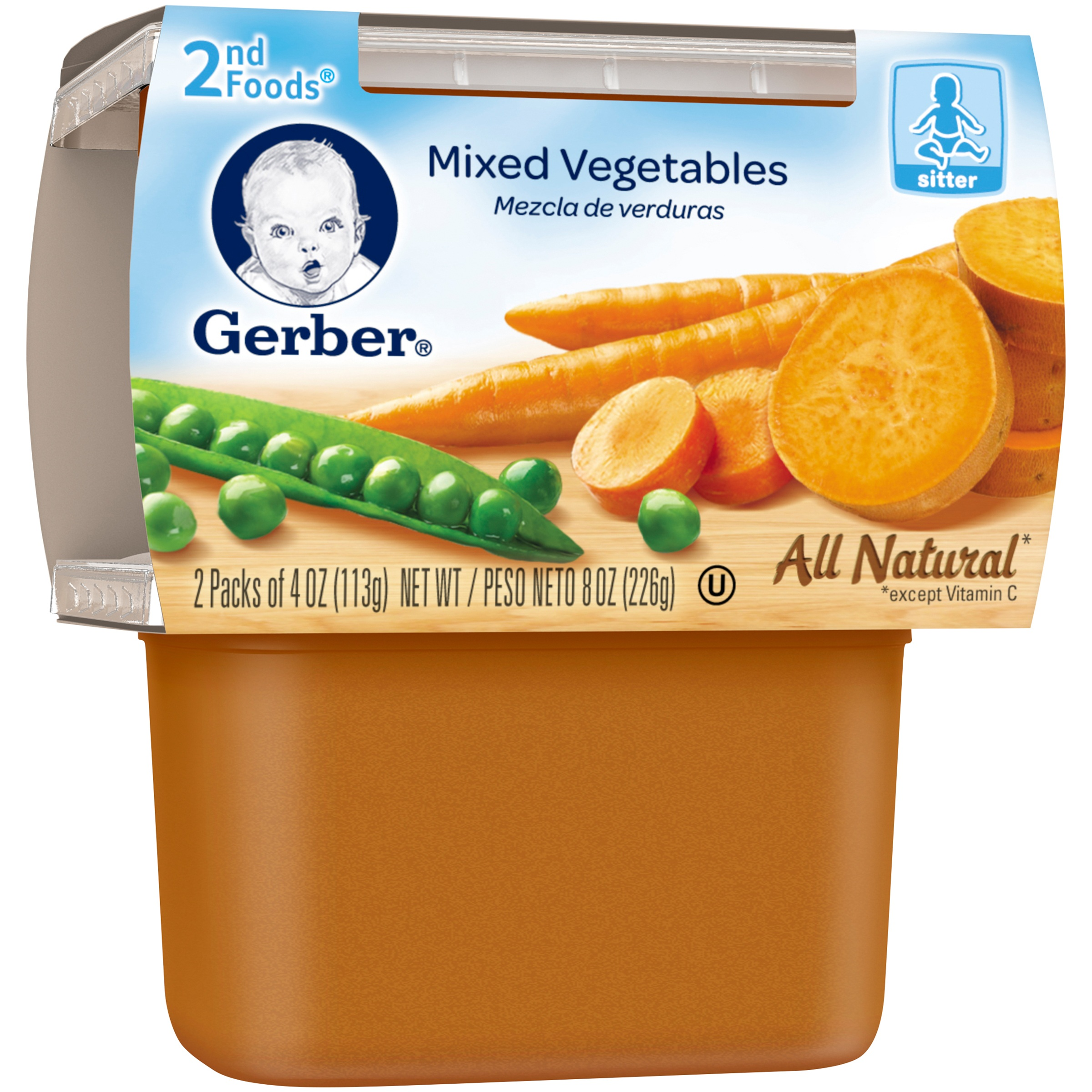 Gerber® 2nd Foods® Mixed Vegetables Baby Food, 4 oz, 2 count