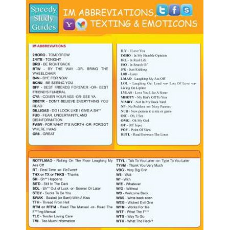 Instant Messaging Abbreviations, Texting and Emoticons : Quick Reference Guide