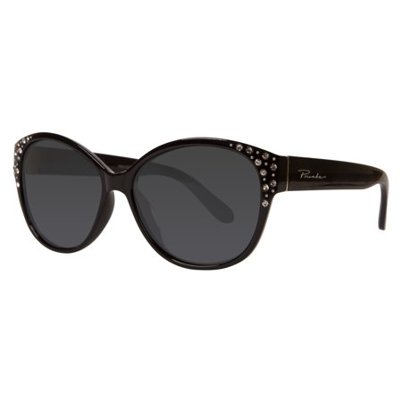 "Piranha ""Future"" Shiny Black Frame Sunglasses with Rhinestone Temples and Smoke Polarized Lens"