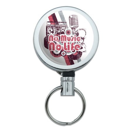 - No Music No Life DJ Radio Stereo Rock Roll Retractable Belt Clip Badge Key Holder