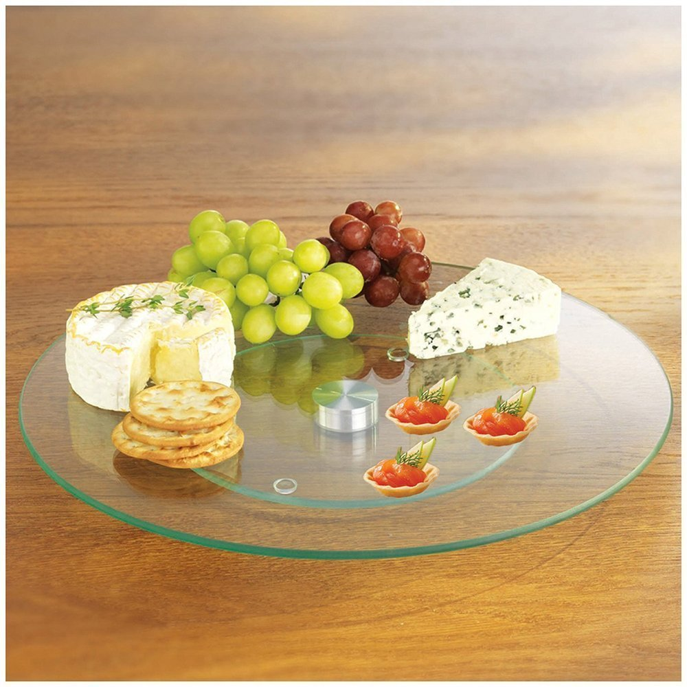 MareLight Tempered Glass 10 Inch Lazy Susan And Rotating 360° Serving  Platter   Round Table