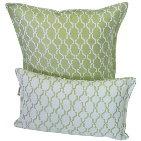 Outdoor Decorative Pillow Sets : Corona Decor Green and White Indoor/ Outdoor Decorative Throw Pillow (Set of 2) - Walmart.com