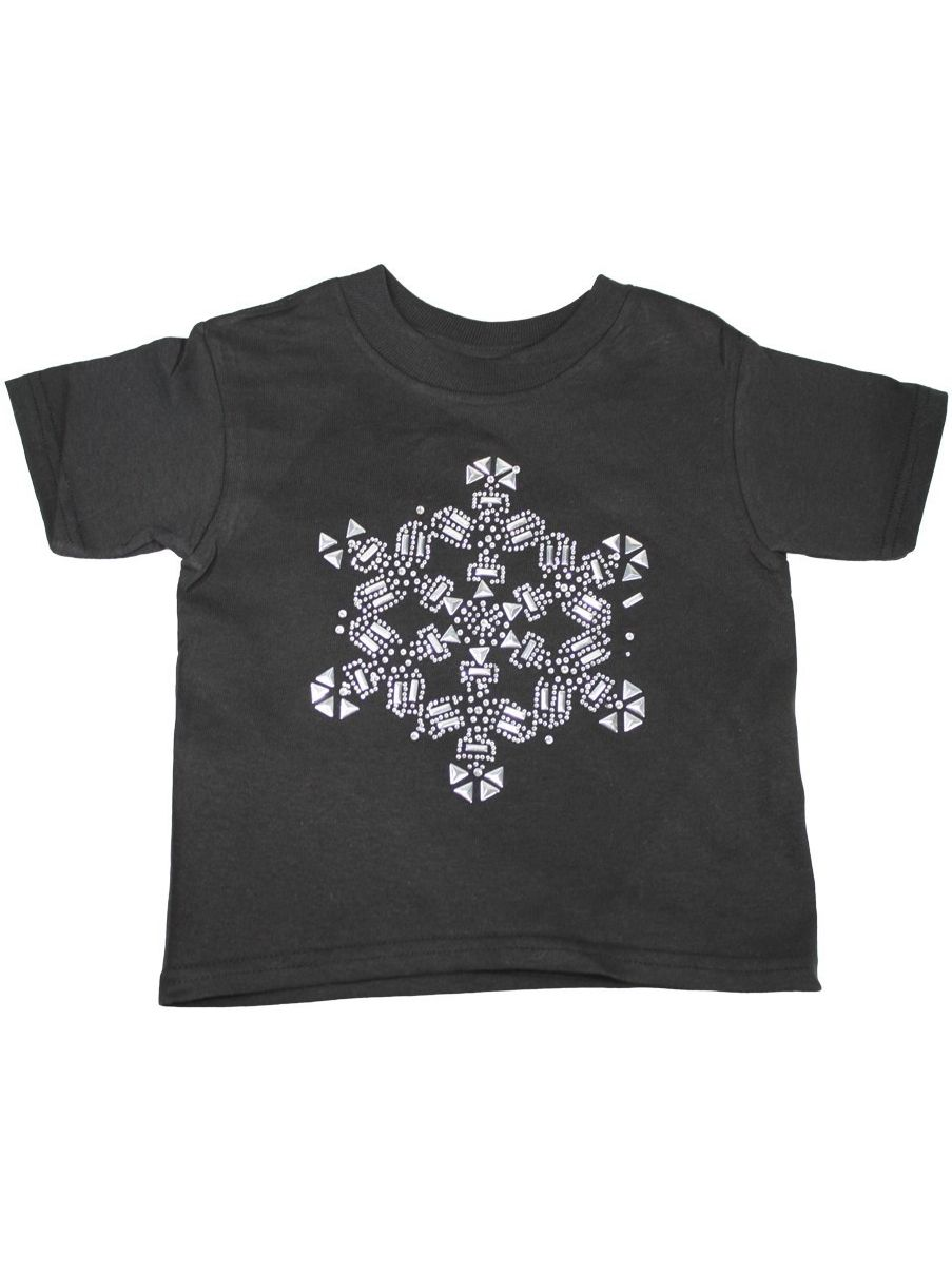 Girls Black Large Rhinestone Snowflake Print Cotton T-Shirt