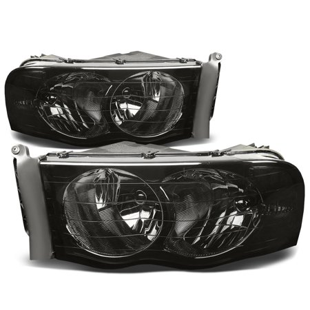 For 2002 to 2005 Dodge Ram Truck 1500 / 2500 / 3500 Smoked Housing Clear Corner Headlight Headlamp 3rd Gen 03 04