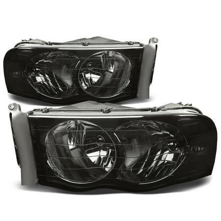 04 Dodge Ram Hemi (For 2002 to 2005 Dodge Ram Truck 1500 / 2500 / 3500 Smoked Housing Clear Corner Headlight Headlamp 3rd Gen 03 04 )