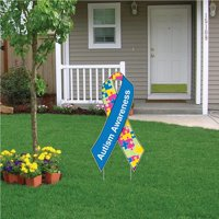 Autism Awareness Ribbon Yard Sign With EZ Yard Stakes
