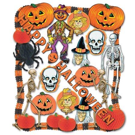 25-Piece Orange and Black Halloween Pumpkin, Bat and Skeleton Decoration Kit (Halloween Decoration Kit)