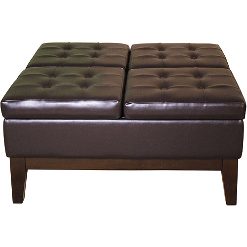 Faux Leather Cocktail Storage Ottoman, Square