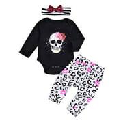 Everpert 3pcs/Set Casual Skeleton Print Baby Long Sleeve Romper Pants Headband (3-6M